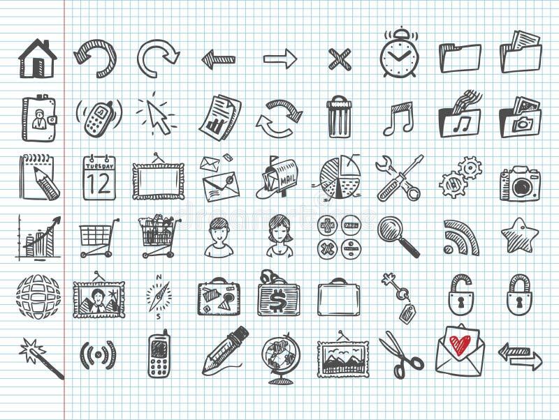 Uppsättning av 54 klottersymboler stock illustrationer