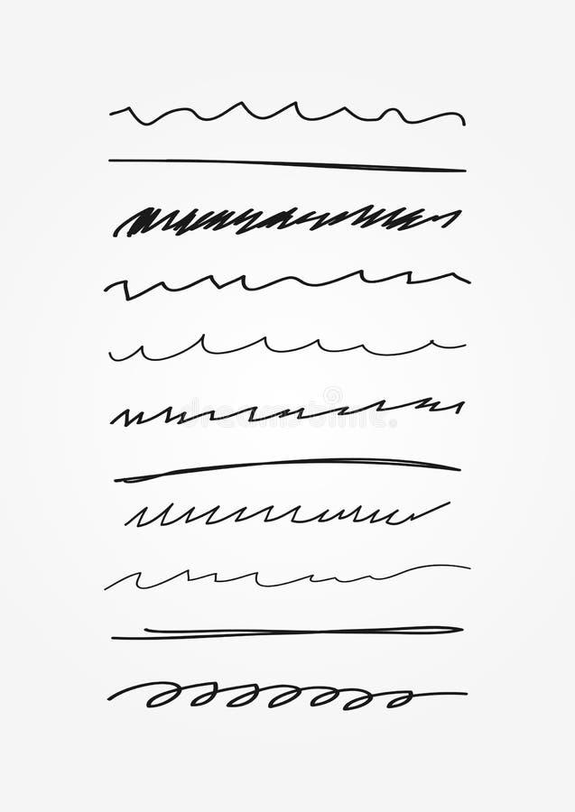 Uppsättning av abstrakt begrepp buktade linjer Klottret skissar, klottrar Understrykning som dras av handen royaltyfri illustrationer