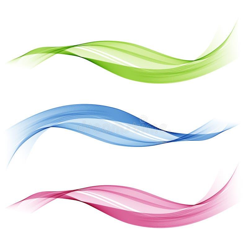 Uppsättning av abstrakt begrepp färgade vågor Blått-, gräsplan- och rosa färgvåg vektor illustrationer