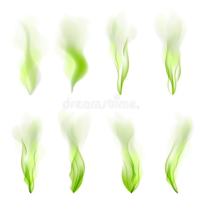 Uppsättning av abstrakt begrepp för grön våg, bakgrund, vektor, rök, linje, flöde, stock illustrationer