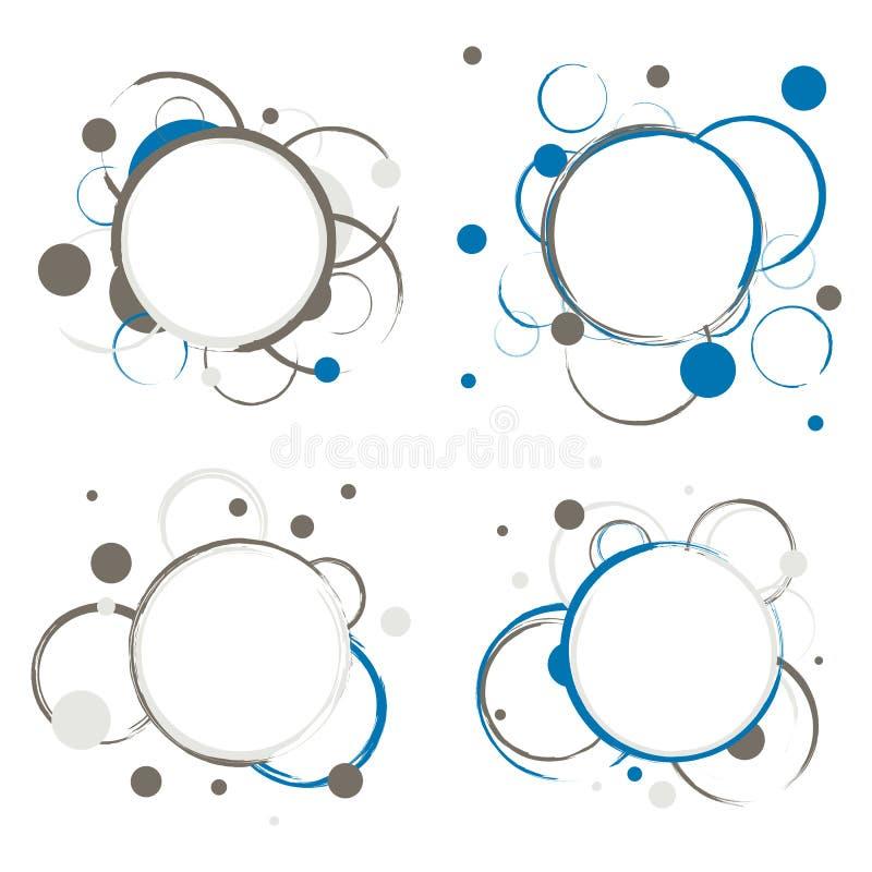 Uppsättning av abstrakt begreppcirkelemblem stock illustrationer