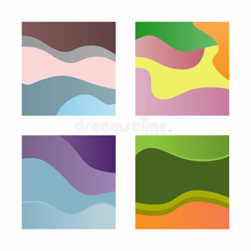 Uppsättning av abstrakt begreppfyrkantbakgrunder för design av affischer, baner, kort, reklamblad, häften royaltyfri illustrationer