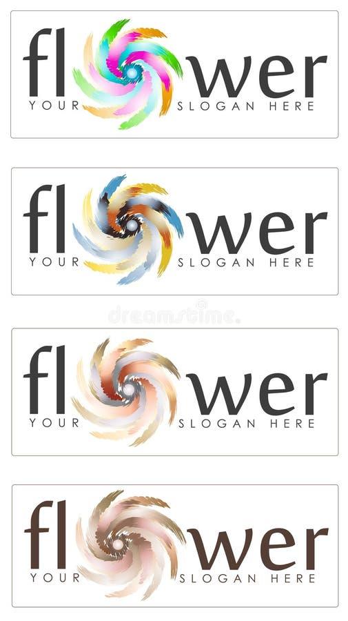 Uppsättning av abstrakt blommatecken vektor illustrationer