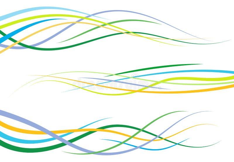 Uppsättning av abstrakt färg buktade linjer stock illustrationer