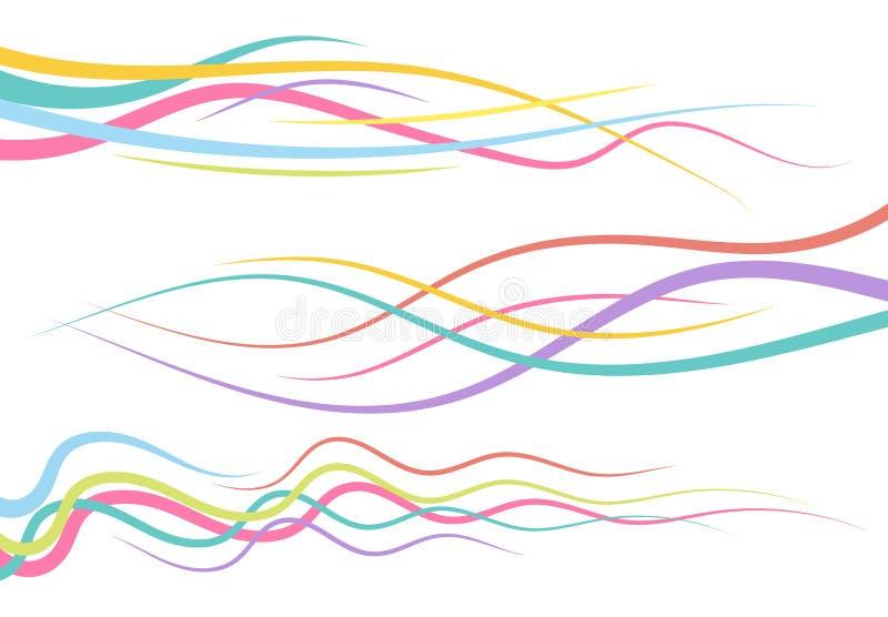 Uppsättning av abstrakt färg buktade linjer vektor illustrationer