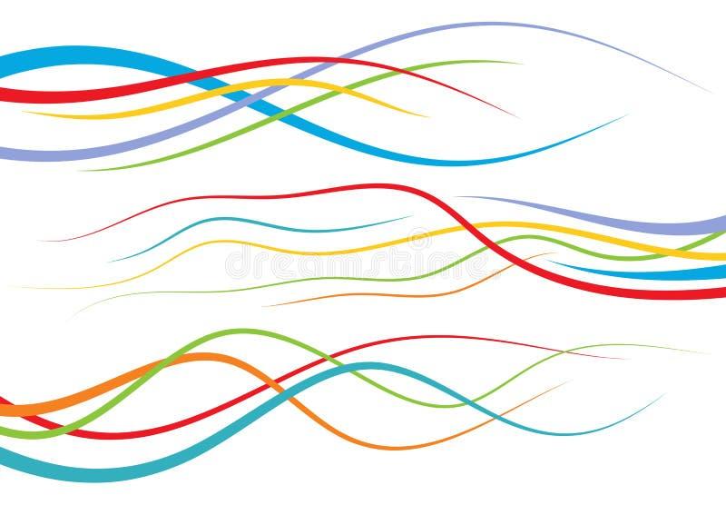 Uppsättning av abstrakt färg buktade linjer Vågdesignbeståndsdel vektor illustrationer