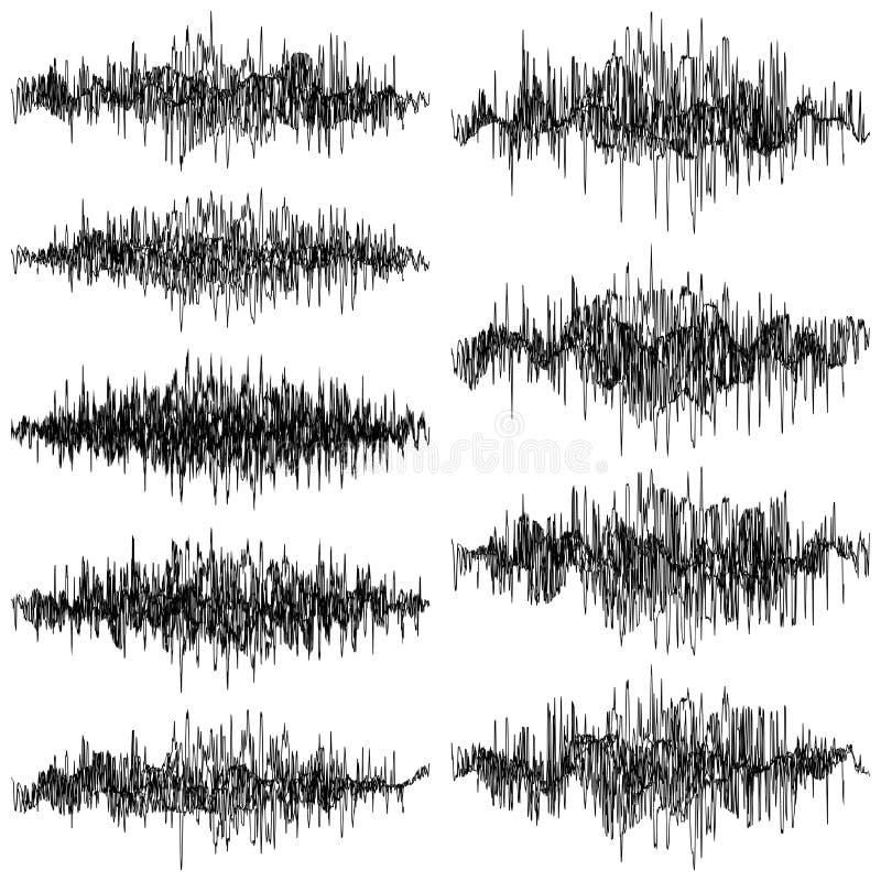 Uppsättning av abstrakt monokromt svängande objekt för solida vågor Vektor för EPS 10 stock illustrationer