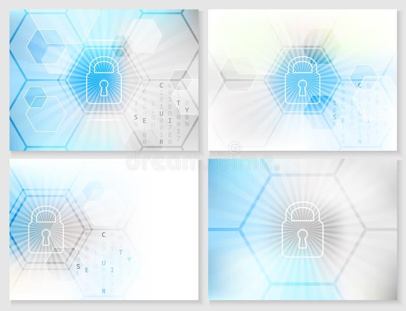 Uppsättning av abstrakt teknologisk bakgrund med globalt säkerhetsbegrepp stock illustrationer