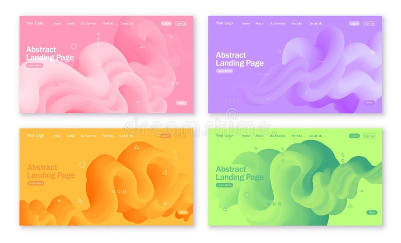 Uppsättning av abstrakta bakgrunder för att landa sidan med vätskeformer i gula, gröna, violetta och rosa färger stock illustrationer