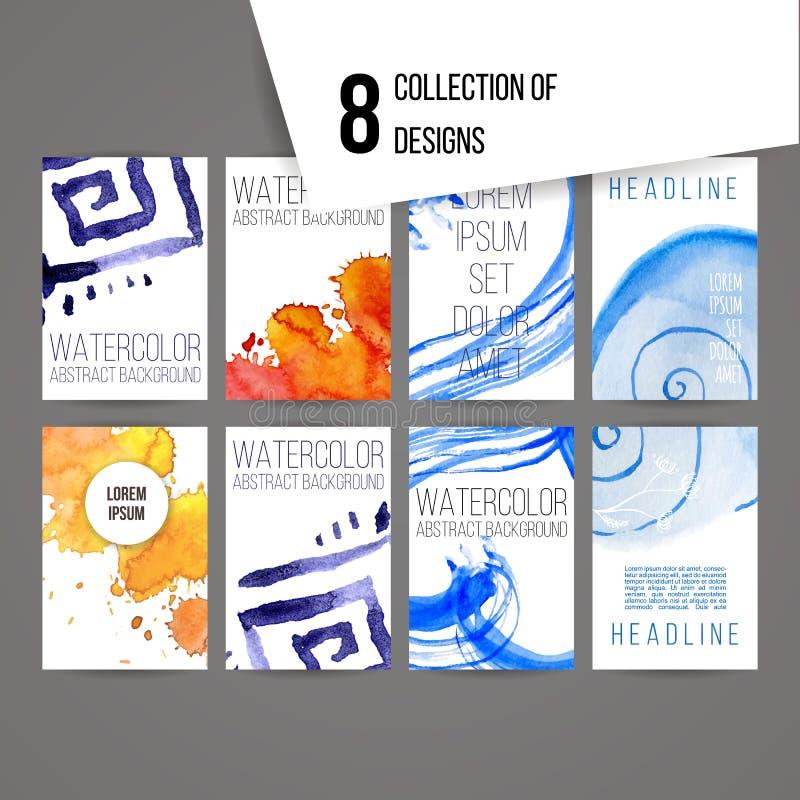 Uppsättning av abstrakta färgpulver- och färgstänkdesigner stock illustrationer