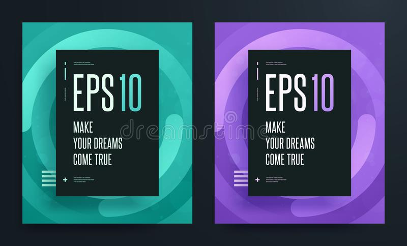 Uppsättning av abstrakta färgrika affischer med ljus ren bakgrundsfärg Illustration för EPS 10 royaltyfri illustrationer