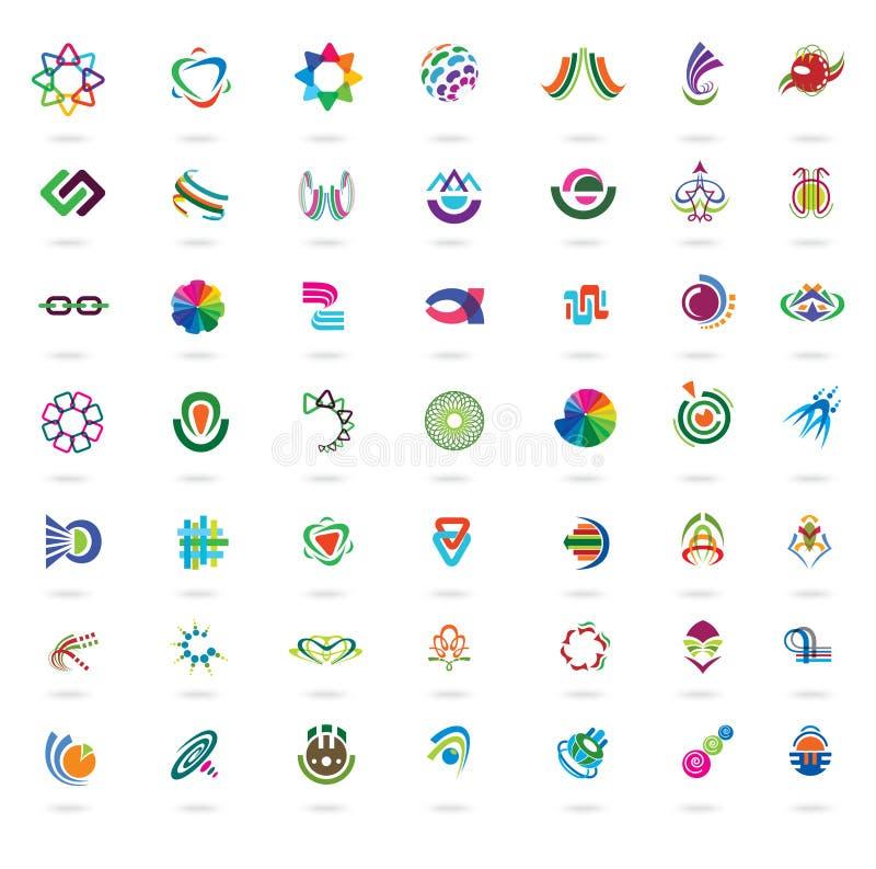 Uppsättning av abstrakta färgrika designbeståndsdelar och symboler royaltyfri illustrationer