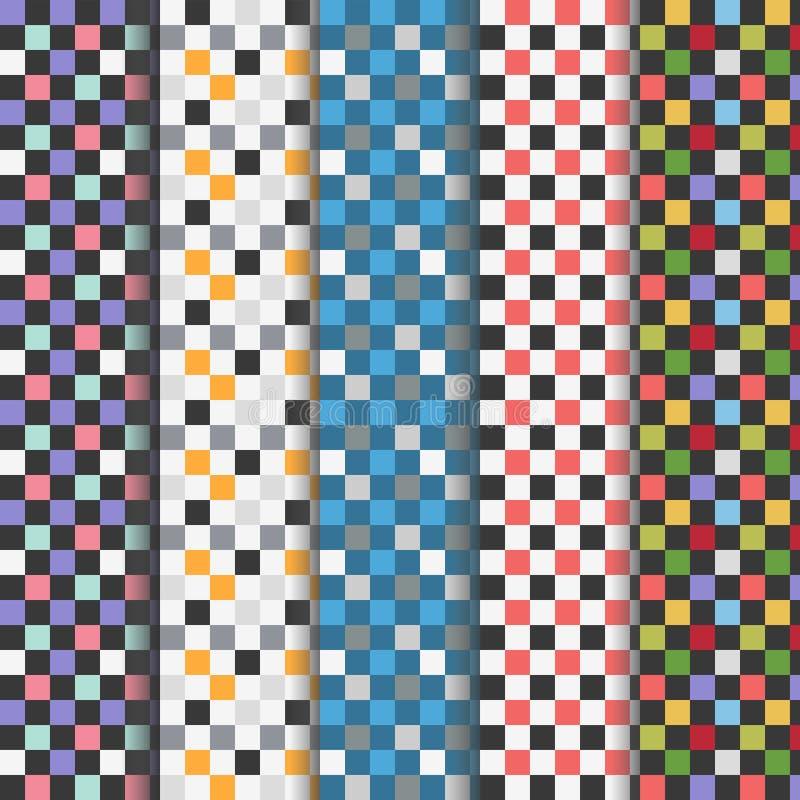 Uppsättning av abstrakta färgrika rutiga sömlösa modeller stock illustrationer