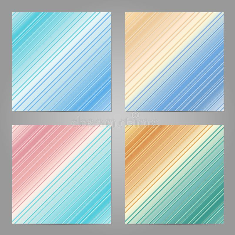 Uppsättning av 4 abstrakta geometriska bakgrunder Suddig banermall stock illustrationer