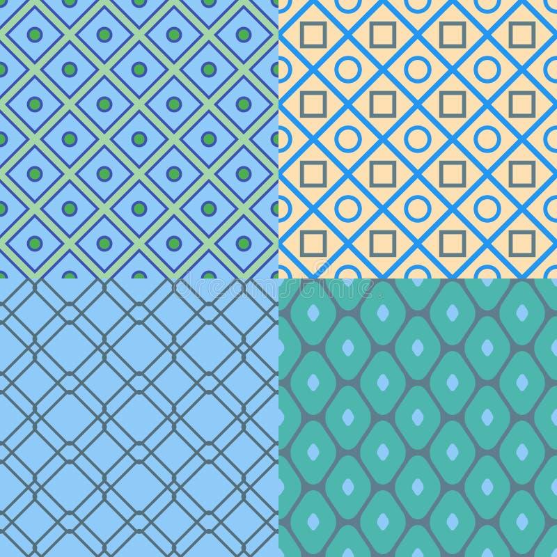 Uppsättning av abstrakta geometriska modeller seamless texturvektor stock illustrationer
