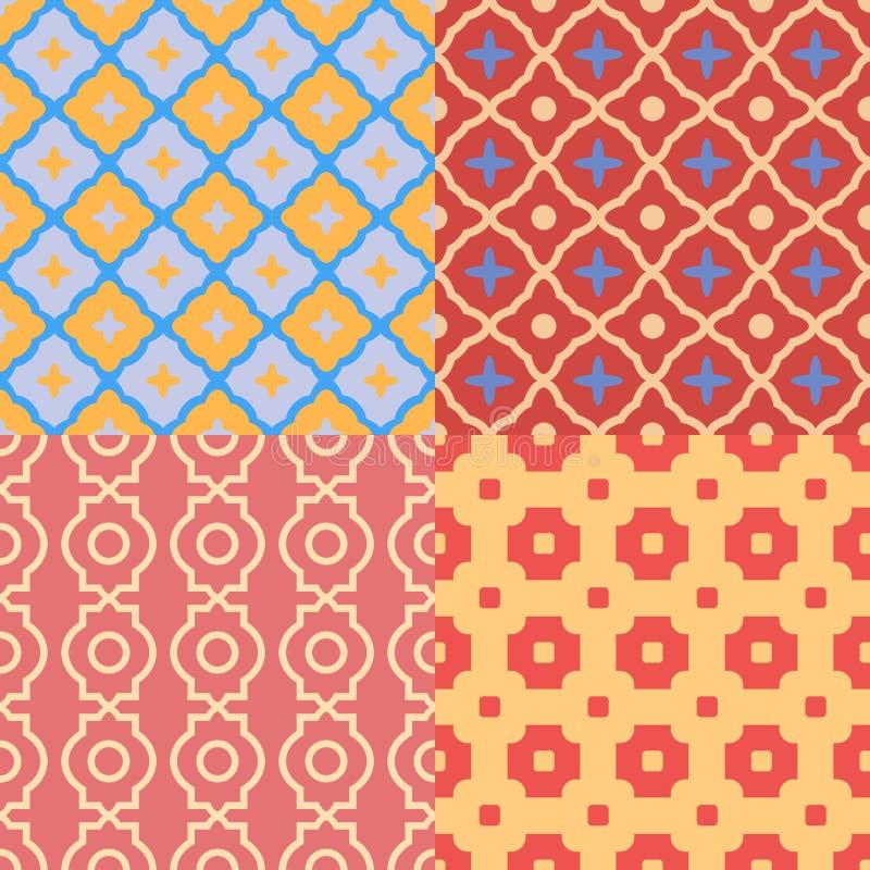 Uppsättning av abstrakta geometriska modeller seamless texturvektor vektor illustrationer