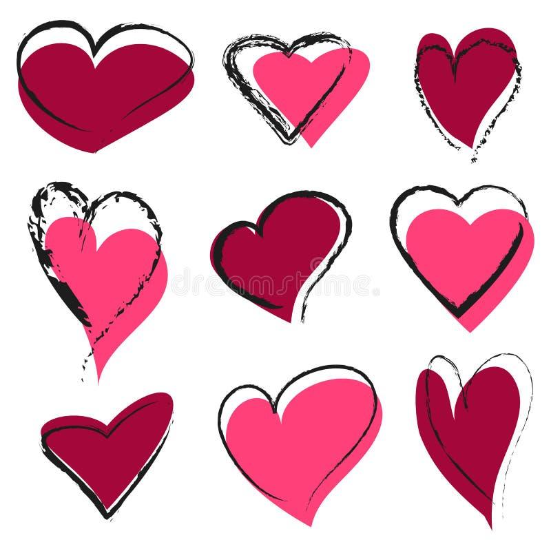 Uppsättning av abstrakta hjärtor royaltyfri illustrationer
