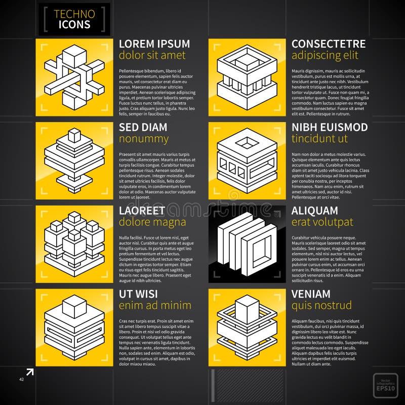 Uppsättning av 8 abstrakta isometriska symboler i technostil royaltyfri illustrationer