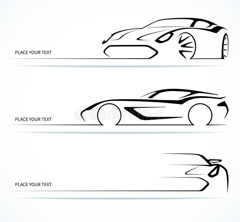 Uppsättning av abstrakta linjära bilkonturer royaltyfri illustrationer