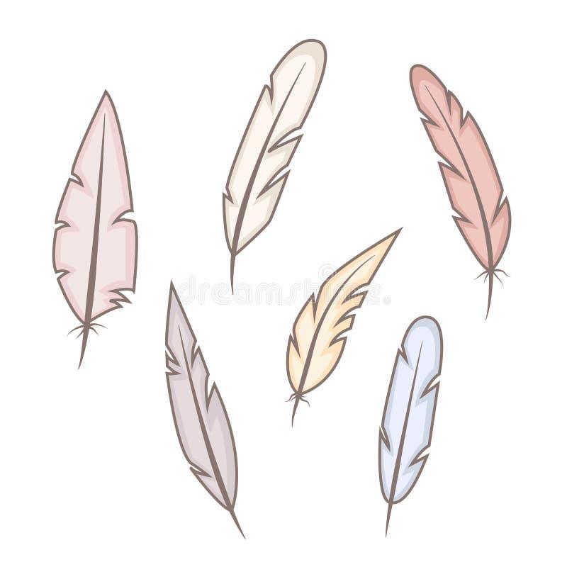 Uppsättning av abstrakta ljusa fjädrar på vit bakgrund fritt wild Hand tecknad vektorillustration stock illustrationer
