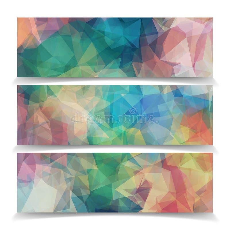 Uppsättning av abstrakta ModernTriangular Polygonal titelrader royaltyfri illustrationer