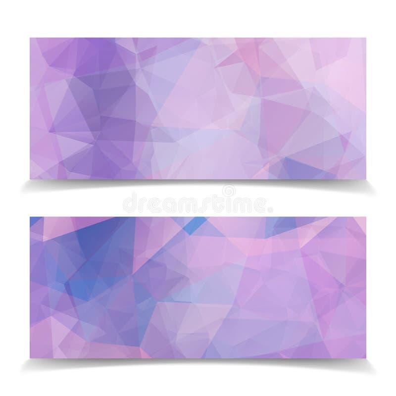 Uppsättning av abstrakta rosa triangulära titelrader stock illustrationer