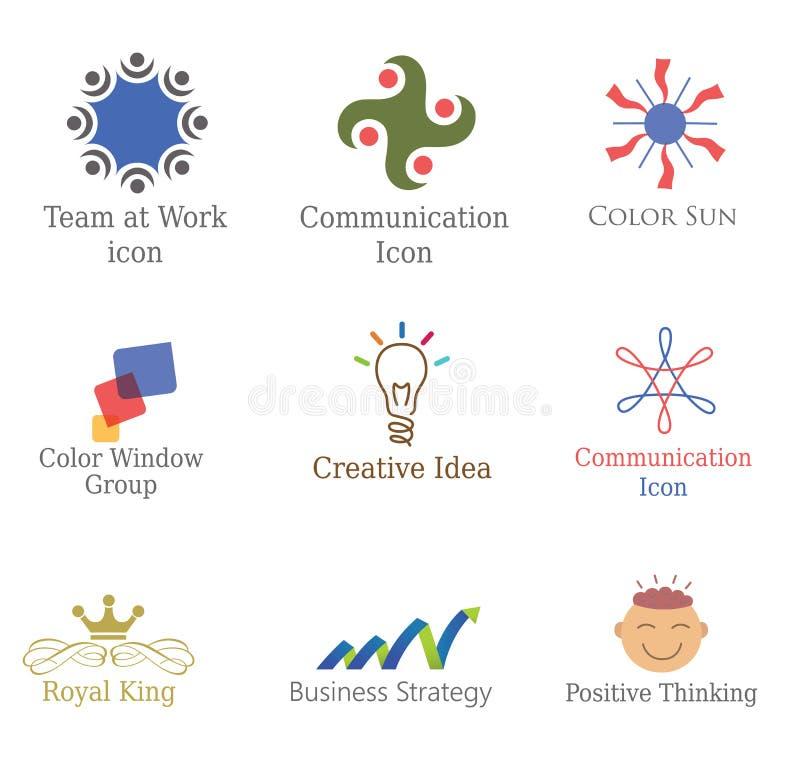 Uppsättning av abstrakta symboler, designbeståndsdellogoer, symboler för affären, kommunikation, produkt royaltyfri illustrationer