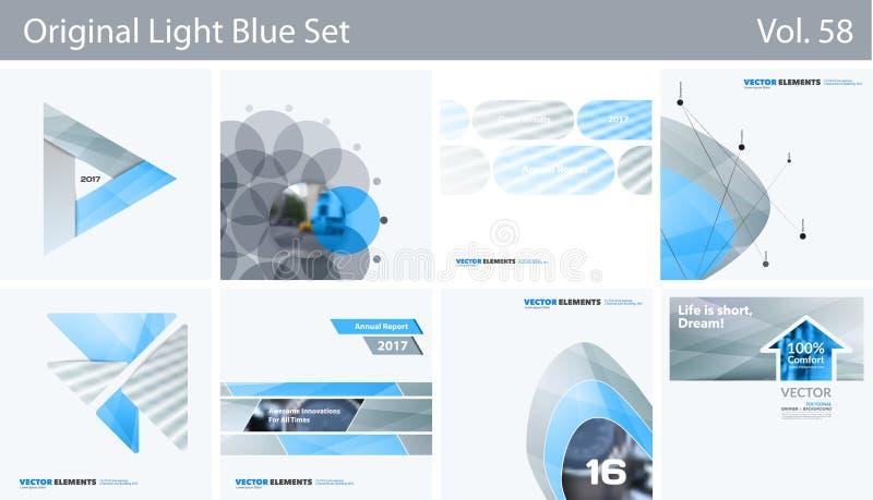 Uppsättning av abstrakta vektordesignbeståndsdelar för grafisk orientering Modern affärsbakgrundsmall stock illustrationer