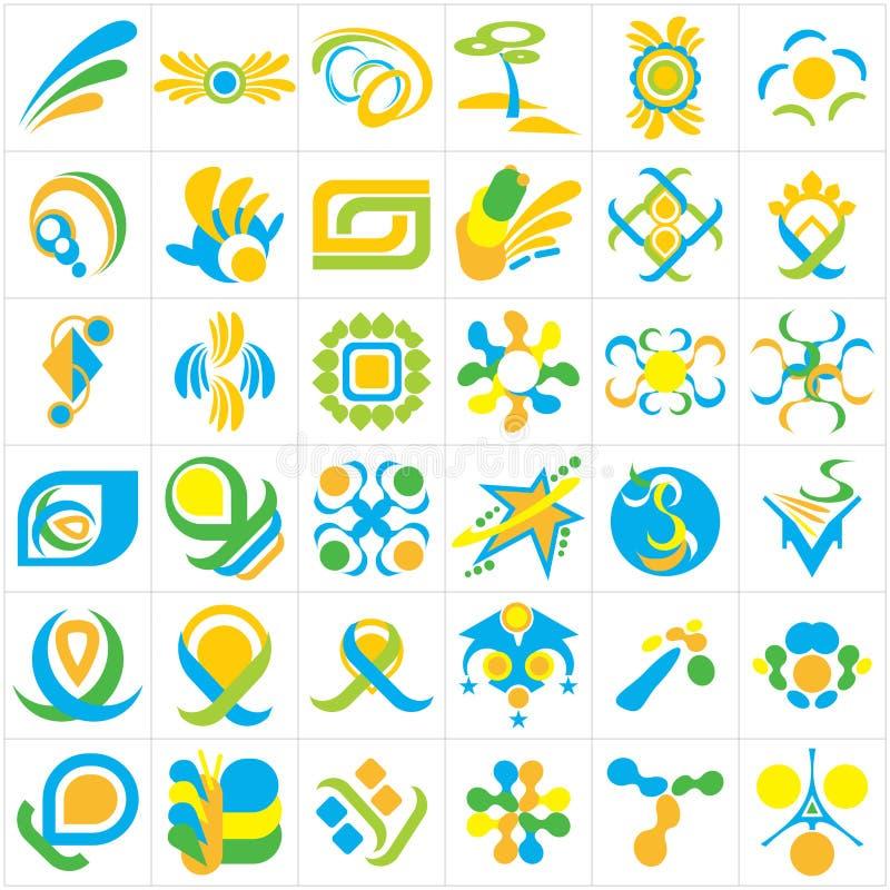 Uppsättning av 36 abstrakta vektorlogoer i blått-, gräsplan- och gulingfärgintrig royaltyfri illustrationer