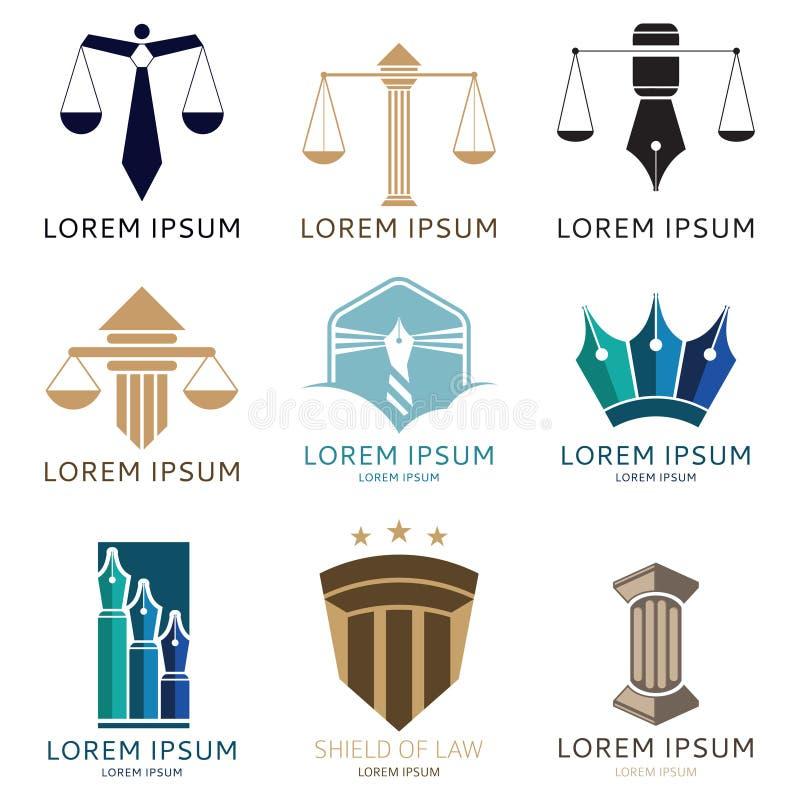 Uppsättning av advokatlogoen och logoen för advokatkontor stock illustrationer