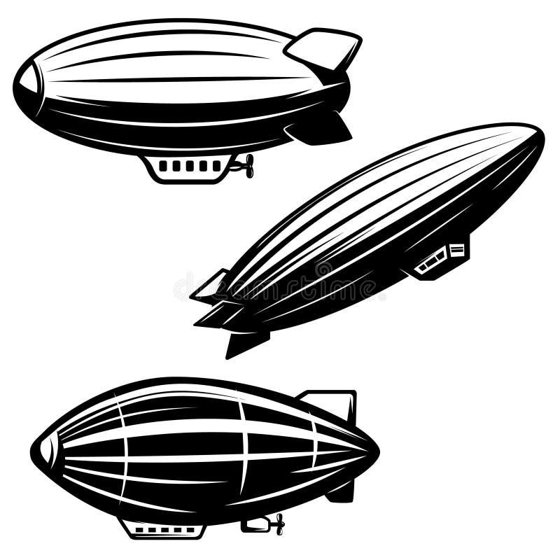 Uppsättning av aerostatillustrationer på vit bakgrund luftskeppzeppelinare Planlägg beståndsdelar för logoen, etiketten, emblemet stock illustrationer