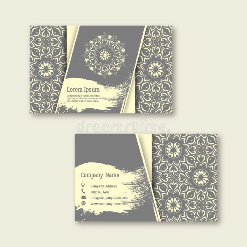 Uppsättning av affären som besöker, hälsningkort med hand dragit mandal stock illustrationer