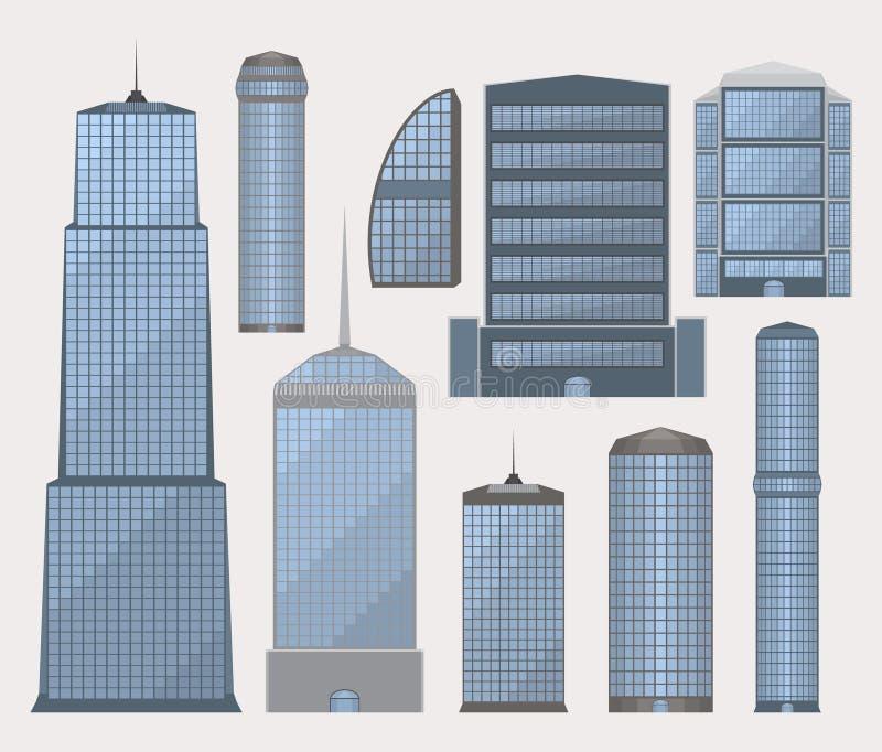 Uppsättning av affärsbyggnader stock illustrationer