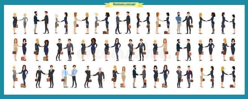 Uppsättning av affärsfolk och lägen Presentation överenskommelse, en handskakning, teamwork royaltyfri illustrationer