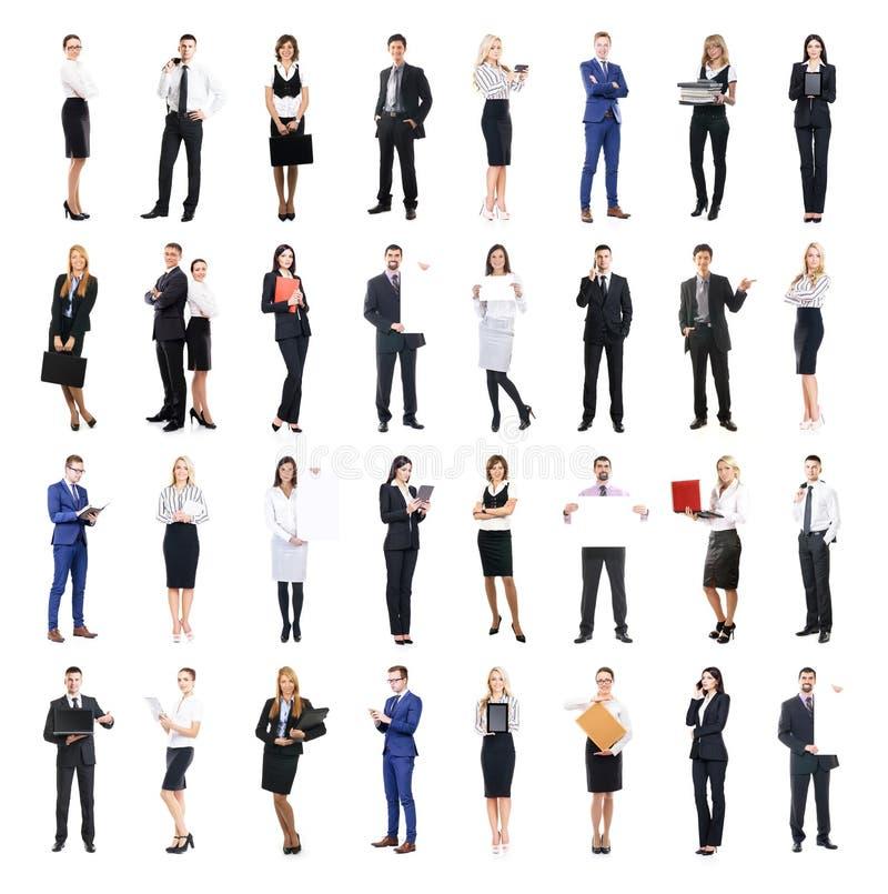 Uppsättning av affärsfolk som isoleras på vit arkivfoto