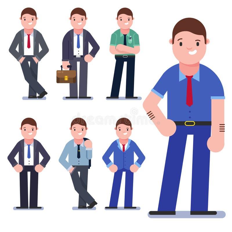 Uppsättning av affärsfolk som isoleras på vit Samling av män, iklädd affärsstil Leende för affärsmän stock illustrationer
