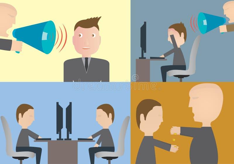 Uppsättning av affärsidéer, arbetskraft, spänningstillstånd stock illustrationer