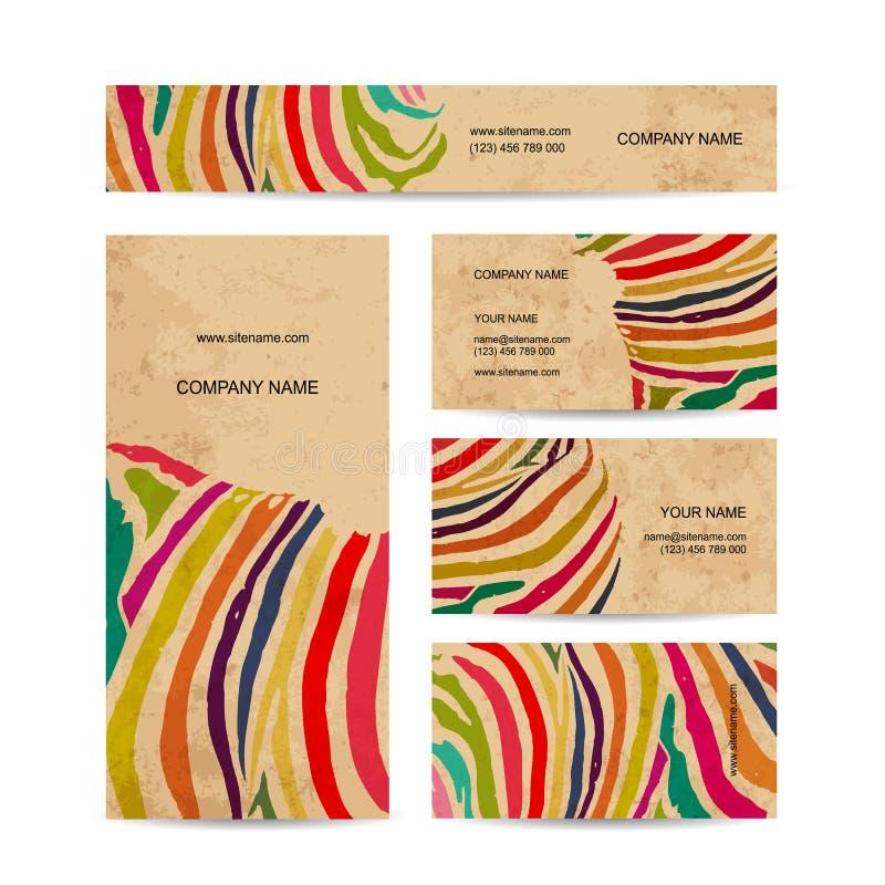 Uppsättning av affärskort, färgrik sebratryckdesign stock illustrationer