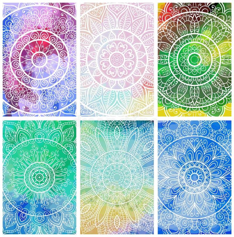 Uppsättning av affärskort med den hand drog stam- prydnaden över vattenfärgbakgrund Mandaladesign för att hälsa, inbjudankort, el royaltyfri bild