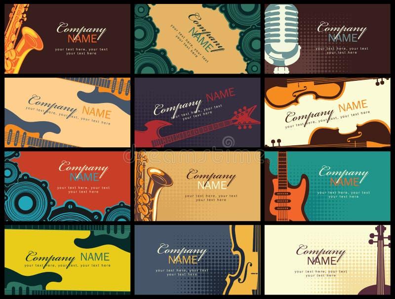 Uppsättning av affärskort med musikinstrument royaltyfri illustrationer