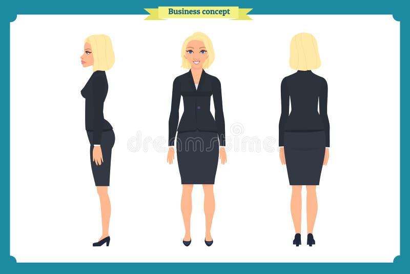 Uppsättning av affärskvinnateckendesignen Framdel sida, baksida Affärsflicka, kvinna Tecknad filmstil, isolerad plan vektor vektor illustrationer