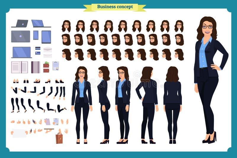 Uppsättning av affärskvinnateckendesignen Framdelen sidan, baksidasikt animerade teckenet Skapelse för affärsflickatecken vektor illustrationer