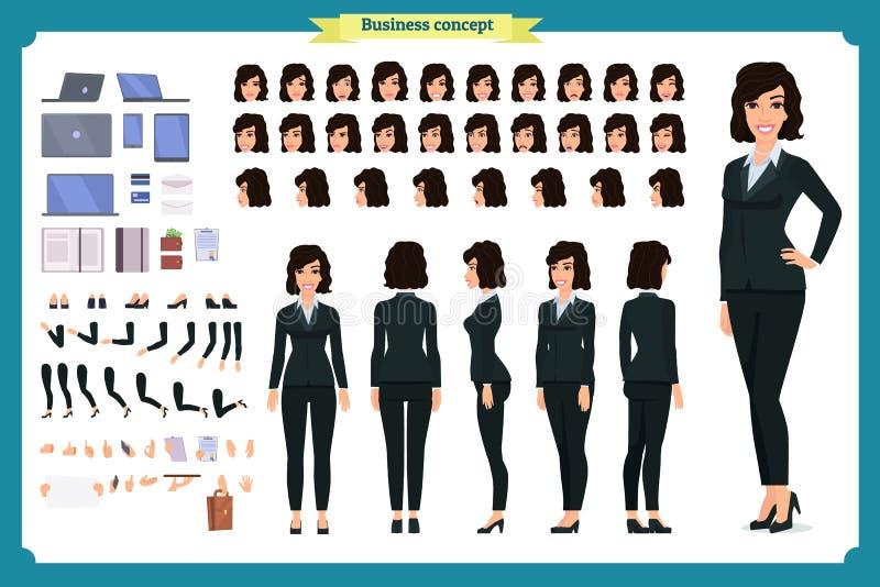 Uppsättning av affärskvinnateckendesignen Framdelen sidan, baksidasikt animerade teckenet Tecknad filmstil, isolerad plan vektor royaltyfri illustrationer