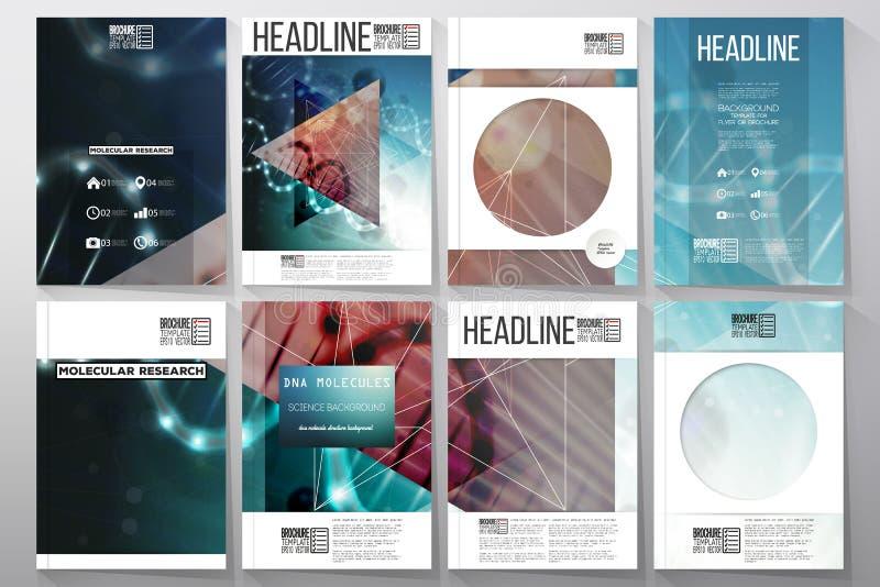 Uppsättning av affärsmallar för broschyr, reklamblad eller häfte DNAmolekylstruktur på en grön bakgrund stock illustrationer