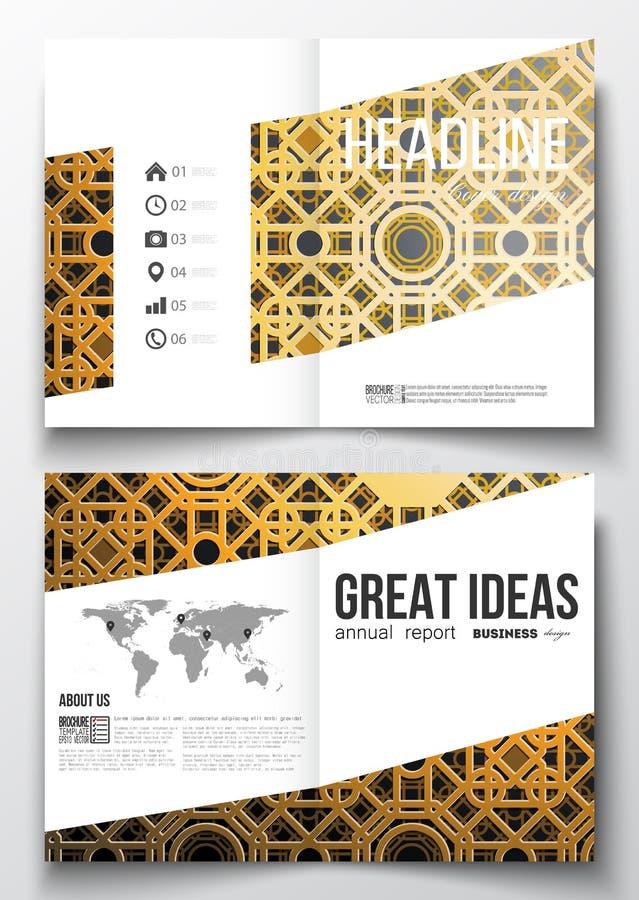 Uppsättning av affärsmallar för broschyr, tidskrift, reklamblad, häfte eller årsrapport royaltyfri illustrationer