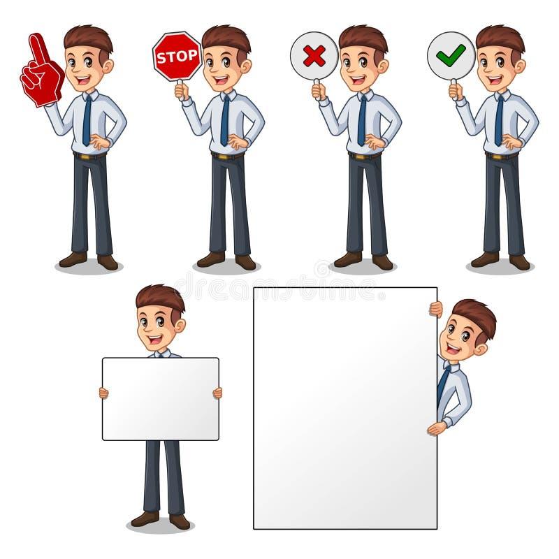 Uppsättning av affärsmannen i hållande teckenbräde för skjorta royaltyfri illustrationer