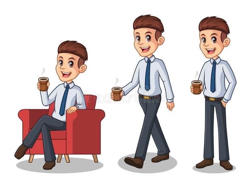 Uppsättning av affärsmannen i skjortan som gör ett avbrott med att dricka ett kaffe vektor illustrationer