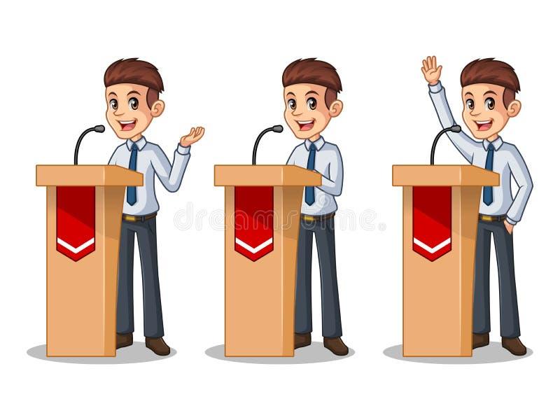 Uppsättning av affärsmannen i skjortan som ger ett anförande bak talarstol royaltyfri illustrationer