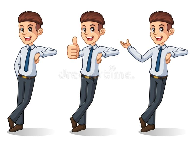 Uppsättning av affärsmannen i skjortaställningsbenägenhet mot stock illustrationer