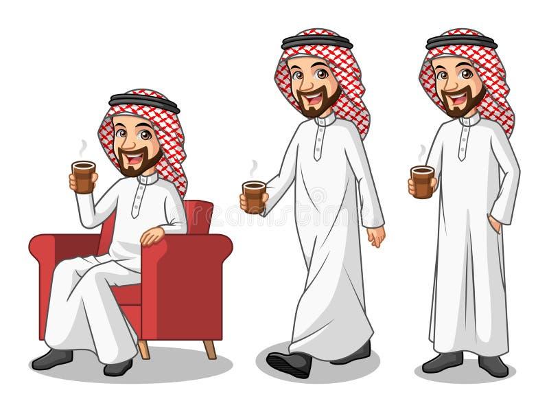 Uppsättning av affärsmannen Saudi Arab Man som gör ett avbrott med att dricka ett kaffe vektor illustrationer